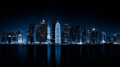 Doha, Qatar, Night, Cityscape, City lights, Reflections, Dark, 5K