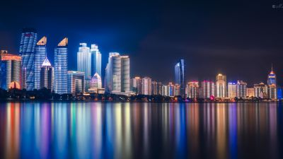 Qingdao, China, Night, Cityscape, City lights, Reflections, 5K