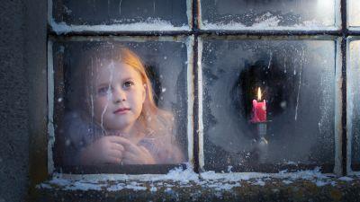 Cute Girl, Winter, Christmas, Snow, Window, Girly, 5K