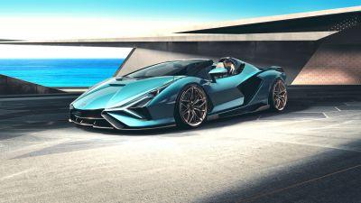 Lamborghini Sián Roadster, Supercars, 2020, 5K, 8K