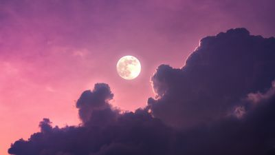 Full moon, Clouds, Pink sky, Scenic, Aesthetic