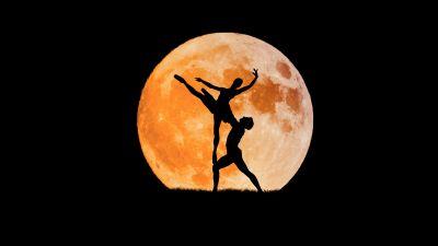 Couple, Ballet dancers, Full moon, Silhouette, Black background, Dancing, 5K, 8K