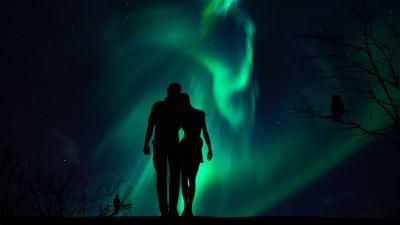 Couple, Aurora Borealis, Night, Romantic, Together, Silhouette, Northern Lights, 5K