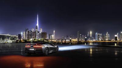 Pininfarina Battista, Dubai, Night, Cityscape, City lights, 5K
