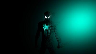 Spider-Man, Dark, Cyan, Minimal, Marvel Superheroes