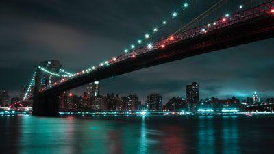 Brooklyn Bridge, Manhattan, City lights, Night, Cityscape, River, New York City, 5K, 8K