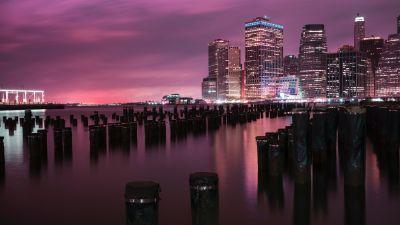 New York City, Downtown, Brooklyn Bridge Park, River, Night, Cityscape, City lights, Pink sky, 5K, 8K
