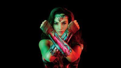 Wonder Woman 1984, Gal Gadot, DC Comics, 2020 Movies, Black background