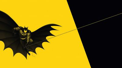 Batman, Minimal art, Yellow background, Black, DC Superheroes