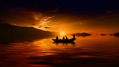 Sunset, People, Boat, Silhouette, Dusk, 5K, 8K