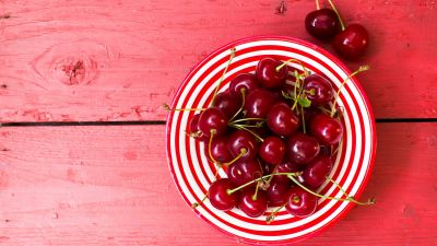 Cherries, Cherry fruits, Bowl of fruits, Wooden background