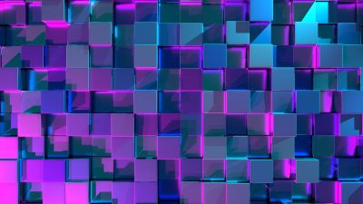 3D cubes, Geometric, Neon, 3D background