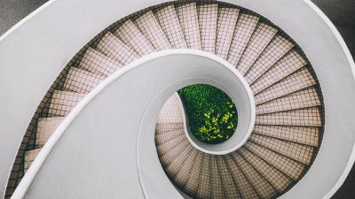 Spiral staircase, Modern architecture, White, Aesthetic, 5K
