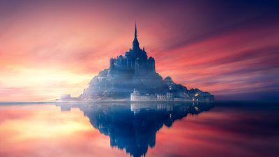 Mont Saint-Michel, Sunset, Twilight, Dawn, Reflection, Normandy, France, Aesthetic, 5K