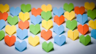 Love hearts, Paper crafts, Colorful hearts, Origami