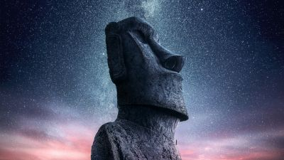 Moai statue, Easter Island, Ancient architecture, Starry sky, Sunset, Dawn, World Heritage Site, 5K