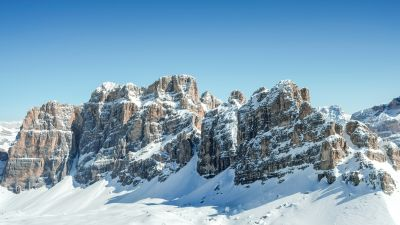 Dolomites, Clear sky, Mountain range, Sunny day, Winter, Snow covered, Mountains, Italy, 5K
