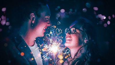Couple, Lovers, Romantic, Love hearts, Sparklers, Night, Celebration, 5K