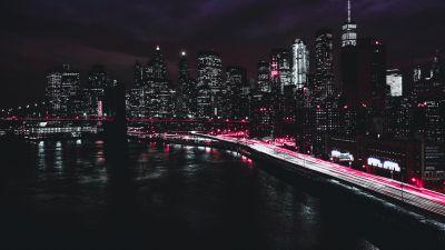 New York City, Manhattan, Traffic lights, Light trails, Night, Cityscape, City lights, Dark, 5K