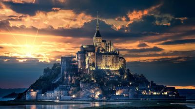 Mont Saint-Michel, Island, Ancient architecture, Reflection, Night, Sunset, Dawn, Evening sky, Normandy, France, 5K