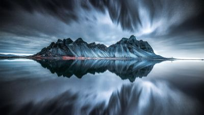 Vestrahorn mountain, Evening, Cold, Reflection, Iceland, Dark