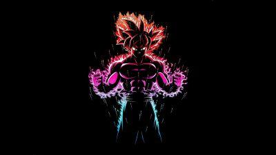 Ultra Instinct Goku, Black background, Dragon Ball Z, AMOLED