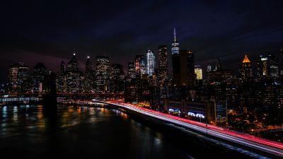 New York City, Night, Cityscape, City lights, Timelapse, Night traffic, 5K