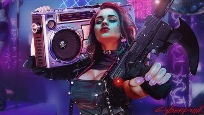Cyberpunk girl, 2020 Games, Cyberpunk 2077, Neon, Artwork