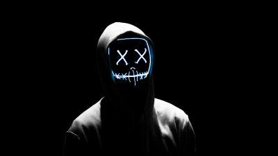 Man, LED mask, Anonymous, Black background, AMOLED, Hoodie, 5K