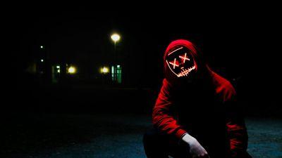 Man, LED mask, Dope, Night, Anonymous, Hoodie, Dark, 5K