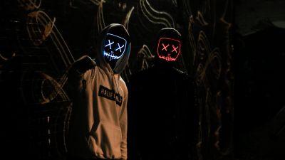 Friends, Anonymous, LED masks, Dark, Hoodie, 5K