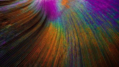Peacock feather, Curved lines, Colorful, Particles
