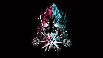 Vegeta, Dragon Ball Z, Anime series, Black background, AMOLED, 5K, 8K