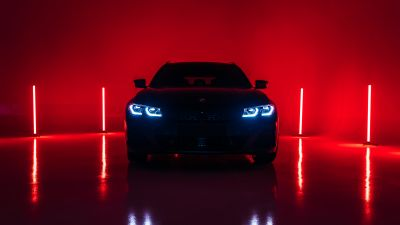 BMW M340i xDrive Touring First Edition, 2020, Red lighting, 5K, Red background