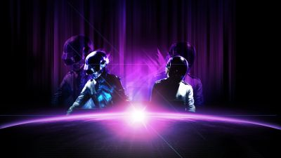 Daft Punk, Live concert, Electronic music duo, Purple, Neon
