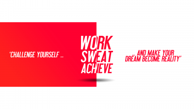 Challenge yourself, Make your Dream become Reality, Work, Sweat, Achieve, Red, White background, Inspirational quotes, Motivational