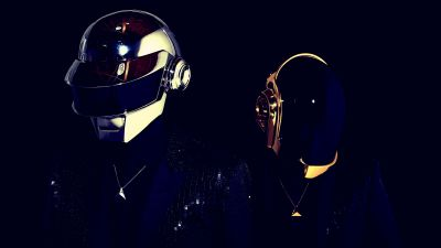 Daft Punk, Electronic music duo, Black background, 5K