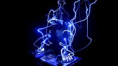 DJ, Electronic music, Dark, Black background, AMOLED