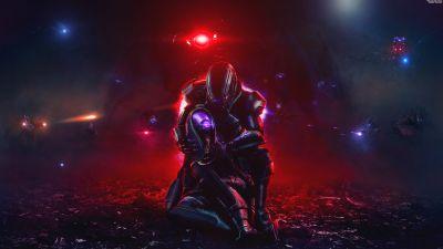 Mass Effect, Tali'Zorah, Commander Shepard, Sci-Fi, 5K, 8K