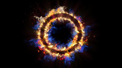 Fire ring, Energy, Black background, Flames, Circle, 5K