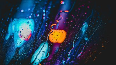 Rain, Lights, Bokeh, Blur, Glass, Water drops, 5K