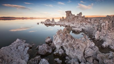 Mono Lake, Rocky shore, Sunset, Dusk
