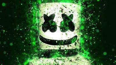 Marshmello, American DJ, Abstract, Green