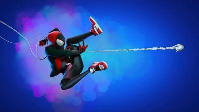 Miles Morales, Spider-Man, Fan Art, Blue background