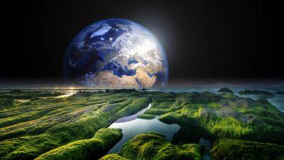 Earth, Space, Stars, Green, Solaris, Water, Sea