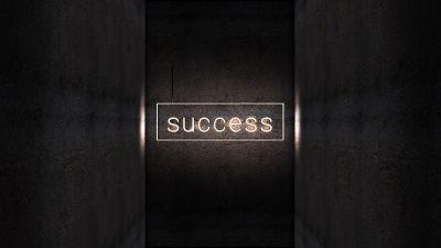 Success, Dark background, Neon light, Wall