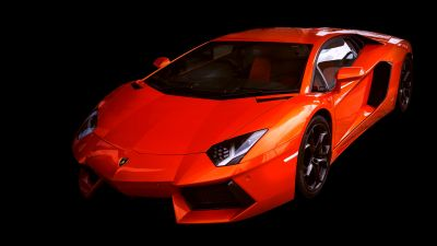 Lamborghini Aventador, Black background, Red cars, 5K, Sports cars, 8K