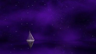 Sailing boat, Ship, Purple background, Stars