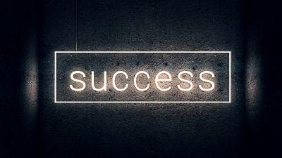 Success, Neon light, Dark background, Wall