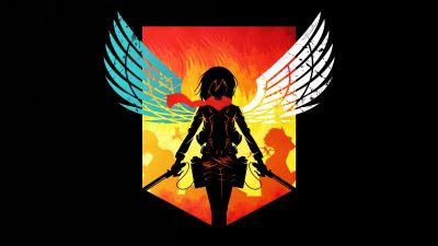 Attack on Titan, Shingeki no Kyojin, Mikasa Ackerman, Anime series, Season 3, Black background